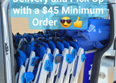 free delivery and pick up with a $45 minimum order