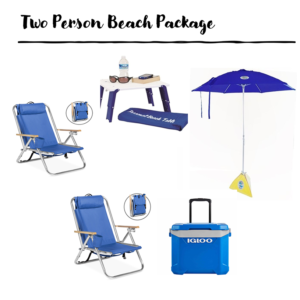 umbrella, chair, table and cooler