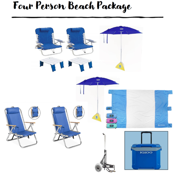 umbrellas, chairs, table and cooler