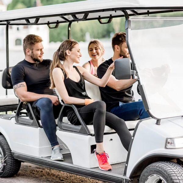 friends in 6 person golf cart