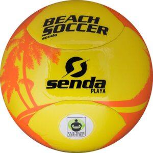 yellow orange soccer ball product shot