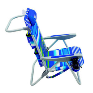 blue and green striped beach chair product shot