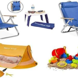 baby beach package with chairs, baby tent, and sand toys