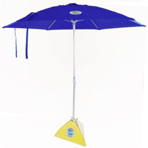 blue beach umbrella