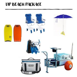 umbrella, chair, fishing gear and cooler